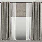 Коричневые шторы с тюлем и римской шторой.