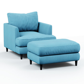 Armchair and pouf blue cloth