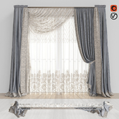 Curtains with lace.