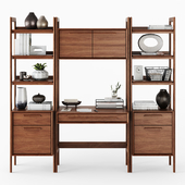 C&B Tate Bookcase Desk and File Cabinets