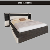 Bed modern double with shelves and drawers