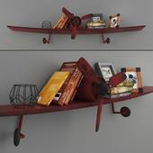 Полка-самолёт с декором в стиле лофт