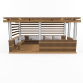 wooden alcove (pergola) with pillow