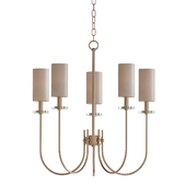 Monroe Collection 5-Light Satin Gold Chandelier with Fabric Shade