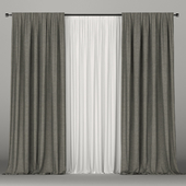 Dark green curtains with tulle.