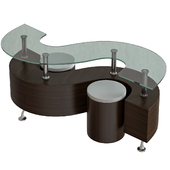 Contemporary Glass Coffee Table with Dark Brown