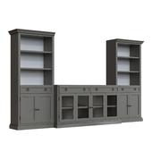 Cameo media console and bookcases