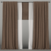 Dark brown curtains with tulle and a Roman curtain.