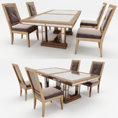 Dining table with chairs in classic style
