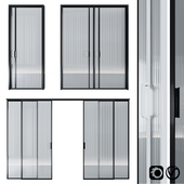 Glass door pocket and swing system
