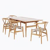 Wishbone Chair Carl Hansen CH24 Dining Table