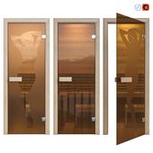 Дверь стеклянная для сауны Sauna wood