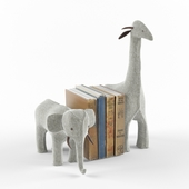 WOOL FELT ANIMAL BOOKENDS - GRAY ELEPHANT & GIRAFFE