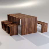 Contemporary bench and table