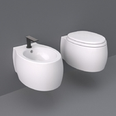 Agape Pear 2 WC and bidet wall-mounted