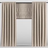 Brown curtains with a roman curtain.