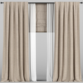 Light brown curtains with tulle and a Roman curtain.