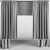 Gray curtains in two shades + Roman blinds.