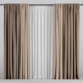 Brown curtains in two shades + white tulle.