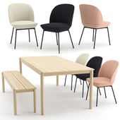 Oslo chair + Linear wood table + bench by MUUTO