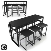 Eos Rectangular Bar Table and Backless Bar Stool