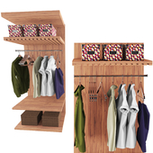 clothes with shelves and holders with boxs