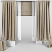 Beige curtains with tulle and roman blinds.