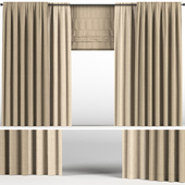 Brown curtains of two colors + Roman blinds.