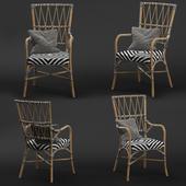 Criss Cross Black White Rattan Cafe Chair