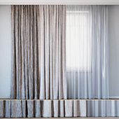 Curtains with tulle set 10 | Mineral and Hubertus by Backhausen