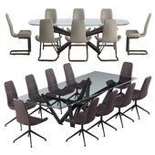 Cattelan italia Flamingo chair Marathon table set