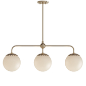 Paige 3-Light Aged Brass Island Pendant with Opal Matte Glass Shade