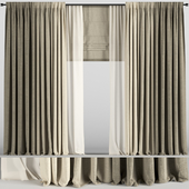 Curtains in three colors with tulle and roman blinds.