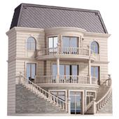 Классический фасад частного дома с декорами.Fasad set
