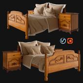 Деревянная кровать с бельем