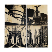 Paintings Selamat City Panels - Set Of 4