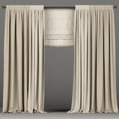 Curtains of two colors with a Roman curtain.