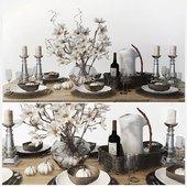 Table setting with magnolias