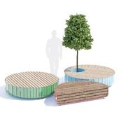 Stripes bench round