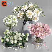 White and Pink tone Peonies Vases