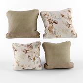 pillow set beige flowers