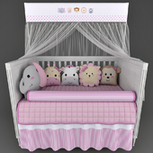 Cot Mon Tresor and underwear in the crib Friends Safari Rosa