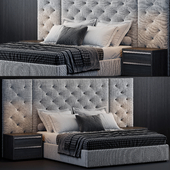 RH Modena Extended Panel Diamond Fabric Platform Bed