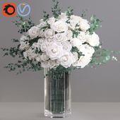 Eucalyptus ecuador white roses vase