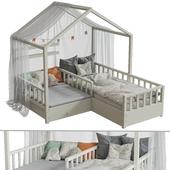 Детская кровать с колоннами №2