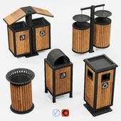 Outdoor wooden trash bins