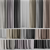 A set of curtains in different colors + tulle.