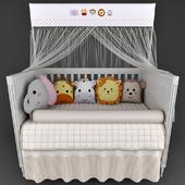 Детская кроватка Mon Tresor и белье в кроватку Friends Safari Beige