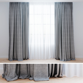 Curtains gray with tulle | Modern curtains