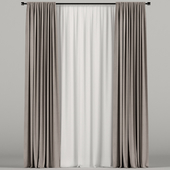 Brown narrow curtains with white tulle.